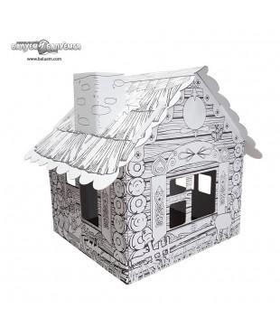 Домик в деревне - 3D игрушка-раскраска из гофрокартона для детского творчества