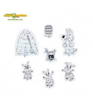Домик трёх поросят (Эконом) - 3D игрушка-раскраска из гофрокартона для детского творчества (игровой набор)