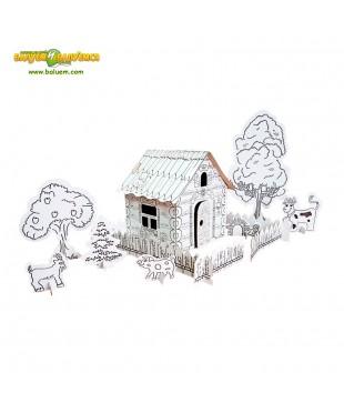 Деревенька - 3D игрушка-раскраска из гофрокартона для детского творчества