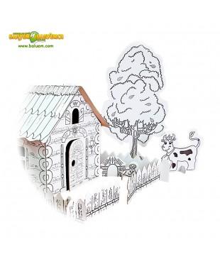 Деревенька (Эконом) - 3D игрушка-раскраска из гофрокартона для детского творчества (игровой набор)