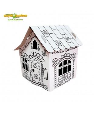 Пряничный домик - 3D игрушка-раскраска из гофрокартона для детского творчества