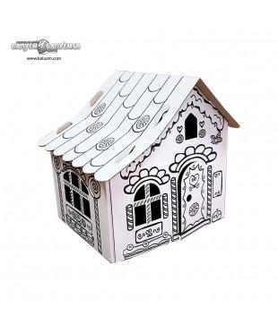 Пряничный домик (Эконом) - 3D игрушка-раскраска из гофрокартона для детского творчества