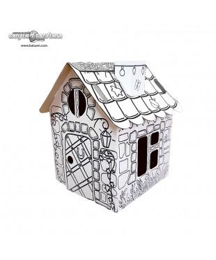 Домик охотника (Эконом) - 3D игрушка-раскраска из гофрокартона для детского творчества