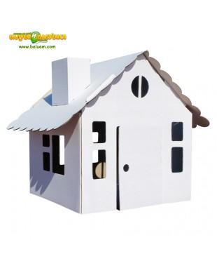 Домик в деревне Эконом - 3D игрушка-раскраска из гофрокартона для детского творчества