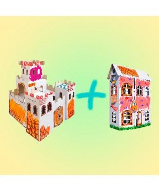 Комплект для мальчика и девочки - 3D игрушка-раскраска из гофрокартона для детского творчества